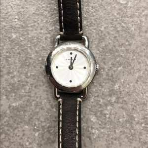 Silver Coach Watch with Black Leather Band